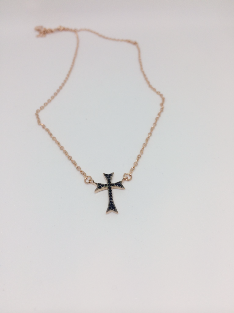Rose Gold Plated Silver Decorative Cross Necklace